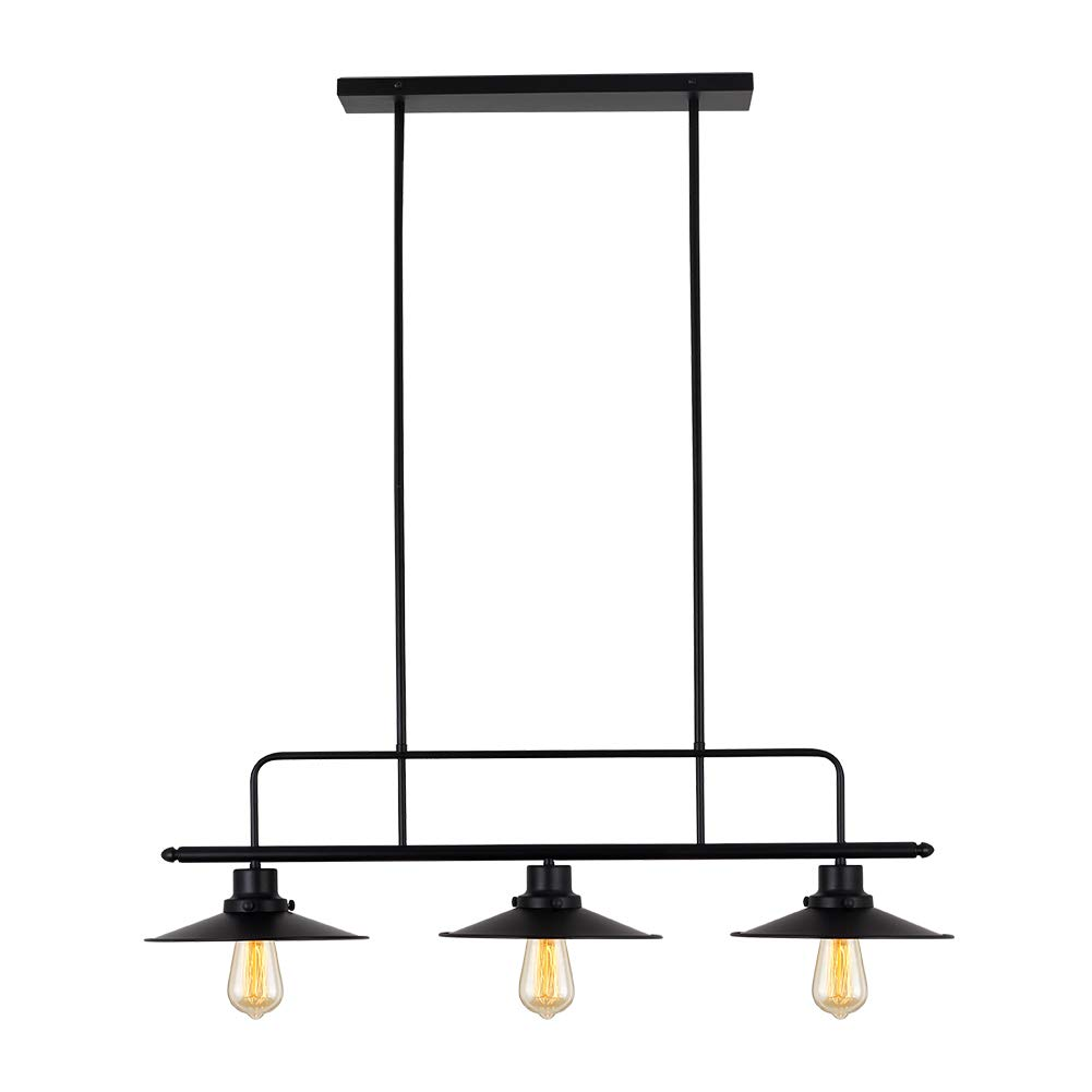 T&A Iron Hill 3-Light Kitchen Island Pendant Light with Black Metal Finish,Modern Industrial Chandelier
