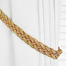 Ayygift1 Pair Vintage Knitted Curtain Rope Buckle Decorative Tiebacks (Gold/Yellow)
