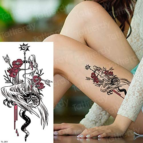 tzxdbh Tatuaje Temporal Halloween Dinosaurio Rojo Esqueleto ...
