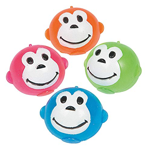 Fun Express - Neon Monkey Splat Ball - Toys - Value Toys - Sticky & Stretch Toys - 12 Pieces