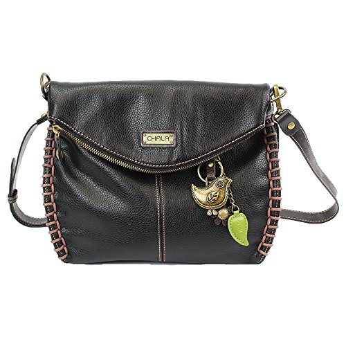 Chala Charming Crossbody Bag With Flap Top and Zipper Black Cross-Body Purse or Shoulder Handbag with Metal Chain - Bird
