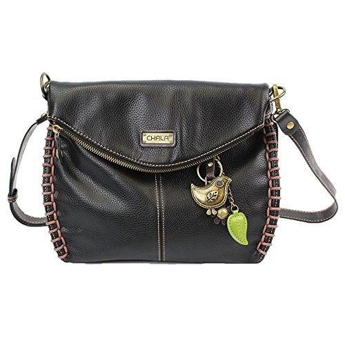 Handbag Crossbody With Charming Bag Zipper Chala or Shoulder and Black Flap Top Bird EaPq4Bw