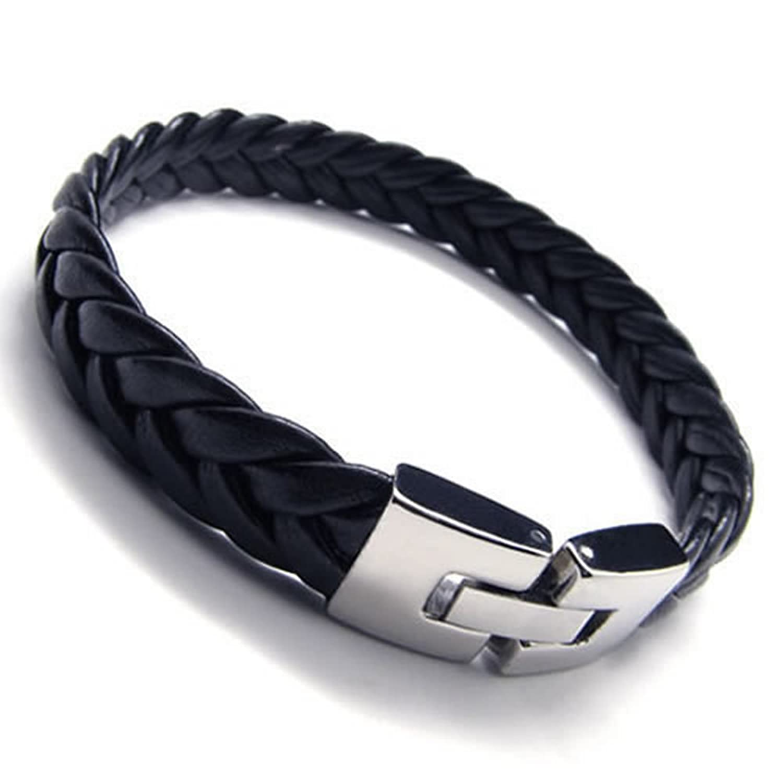 Amazon: Konov Men's Leather Bracelet, Stainless Steel Clasp, Black  Silver, 9 Inch: Cuff Bracelets: Jewelry