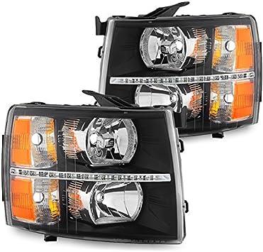 07-13 CHEVY SILVERADO//14 2500//3500 HD DRL LED HEADLIGHTS LAMPS BLACK LEFT+RIGHT