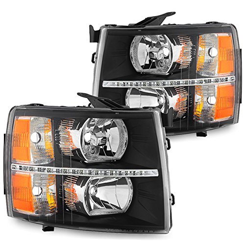 For Black Bezel 07-13 Chevy Silverado Pickup Truck LED Headlights Front Lamps Replacement Left + Right