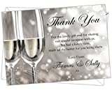 Personalised Silver Wedding Anniversary Thank You Cards (SWTY 001) (Pack of 12)