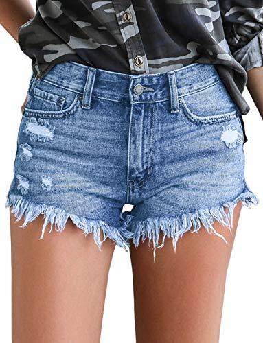 Mirawise Women's Jeans Shorts Summer Hot Pants Mid Rise Frayed Raw Hem Ripped Denim Shorts Light Blue Short ()