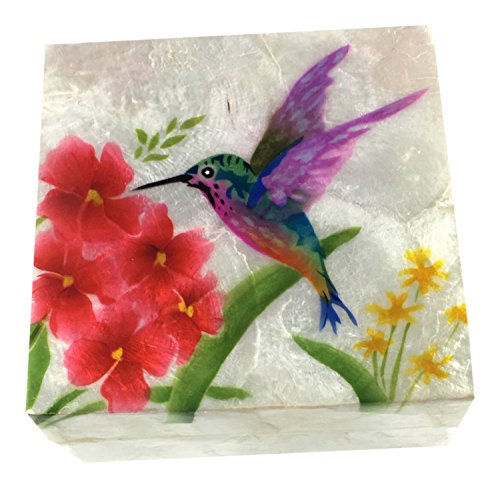 Kubla Craft Hummingbird with Flowers Capiz Shell Keepsake Box, 4 Inches Square
