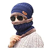 Men Boys Winter Warmer Thicken Knitted Beanie Hat Cap and Neck Warmers Neckerchief Scarf Set for Ski Outdoor Sports Wear