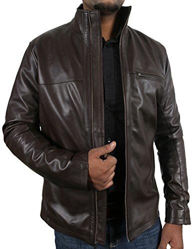 Laverapelle Men's Brown Genuine Lambskin Leather Jacket - 1510135 - Medium (Brown Cowhide Nappa Leather)