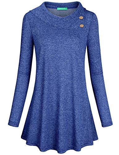 Pullover hoodie for Women, Kimmery Blue Casual Sweatshirts for Juniors Long Sleeve Tunic Vintage Buttons Embellished Shirts Warm Turndown Collar Spring Autumn Winter Outwear for Daily Outdoor XX Large (Embellished Sweater Tunic)
