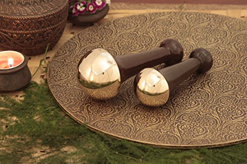 Bronze Capped Foot & Face, Neck WAND With Wooden Handle (SIZE- MEDIUM & SMALL) | Benefits of Alloy Metal Massage for Detoxification and Deep Relaxation