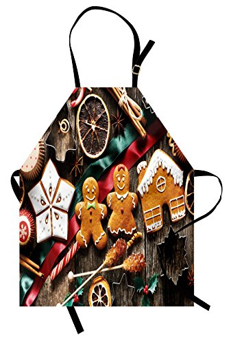 Ambesonne Gingerbread Man Apron, Delicious Homemade Cookies Dried Fruits and Bakery Tools Festive Rustic, Unisex Kitchen Bib Apron with Adjustable Neck for Cooking Baking Gardening, Multicolor