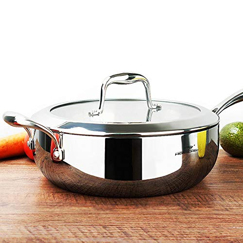 HOMI CHEF Mirror Polished NICKELFREE Stainless Steel 5 Quart/ 11 Inch Saute Pan with Glass Lid (No Toxic Non Stick Coating, Whole-Clad 3-Ply) - Stainless Steel Saute Pan (Glass Non Stick Chefs Pan)