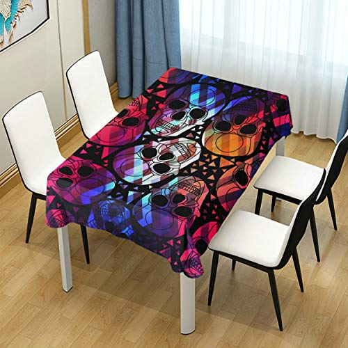 VAMIX Decor Tablecloth Colorful Skull Polygonal Ornament Halloween Seamless Modern Abstract Multicolor Rectangular Table Cover for Dining Room Kitchen Outdoor Picnic -