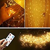 LemonBest 3Mx3M 300 LED String Fairy Light Copper Wire Curtain Lights Indoor Outdoor Decorating Christmas Xmas String Garden Party Fairy Wedding Warm White Curtain Light with RF Remote, UL Listed
