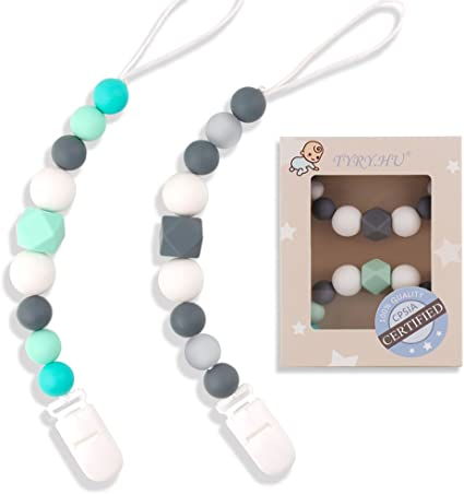 Baby Dummy Clips Pacifier Chain Silicone Teething Relief Toys Beads for Girls /&