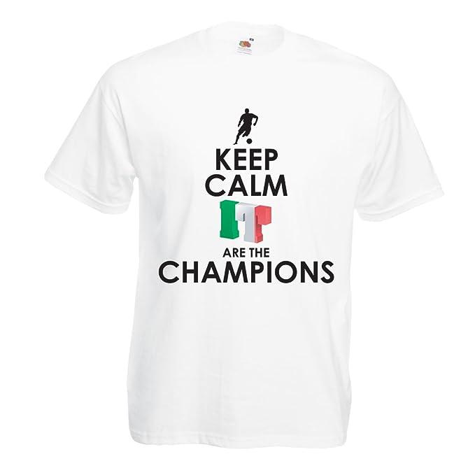 lepni.me Camisetas Hombre Los Italianos Son los campeones, el Campeonato de Rusia 2018, la Copa del Mundo de Fútbol, el Equipo de Aficionados de Italia: ...