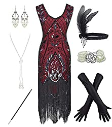 Red 1920s Fringe Beaded Dress with Costume Set