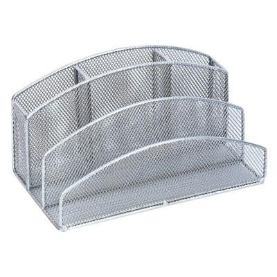 - RamBue, Mesh Pencil Caddy and Letter Organizer (Silver)