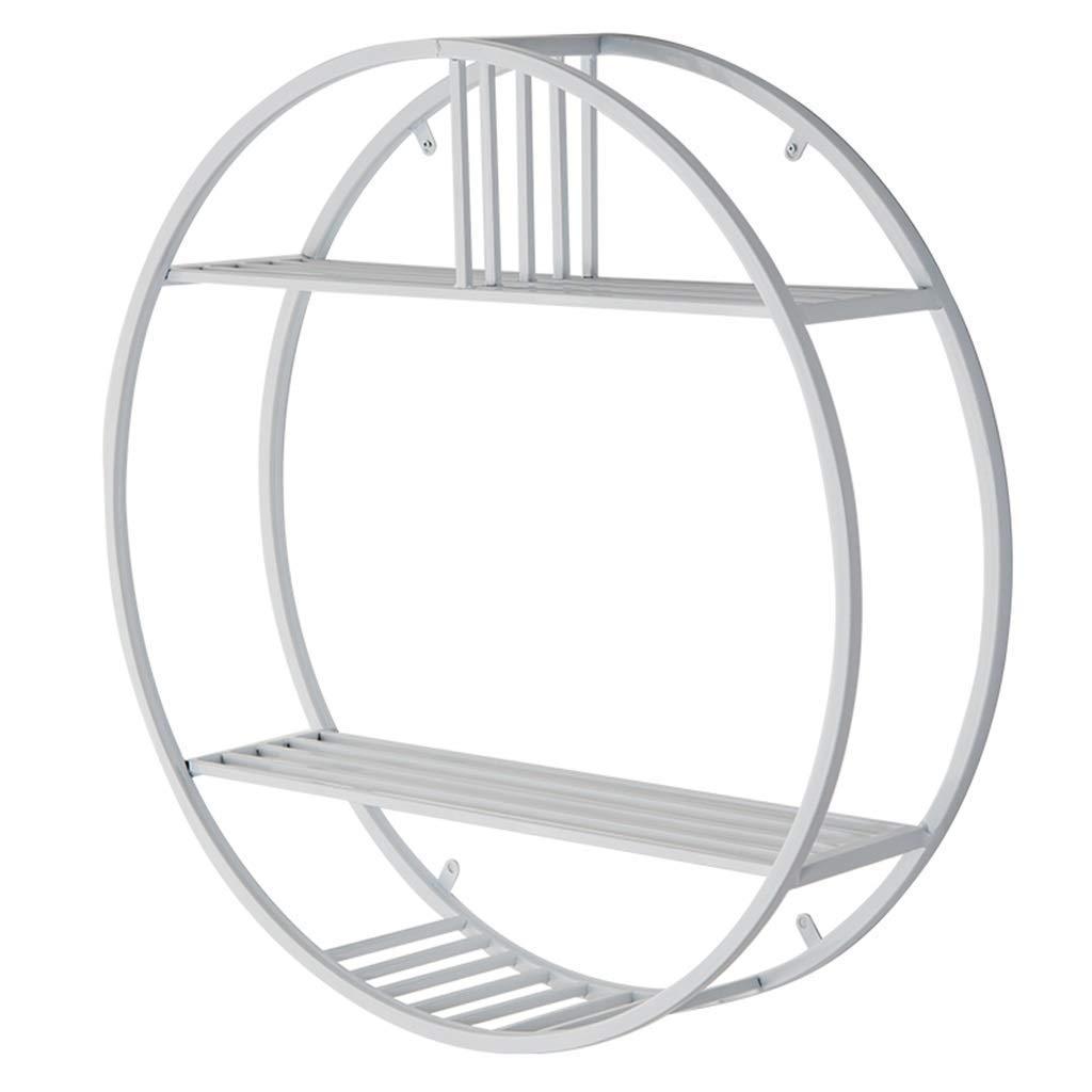 YCT 収納キャビネットを整理する、円形フローティング棚壁掛け本棚ロッカーディスプレイスタンド(鉄ブラケット付き)3層 B07R9MKG39