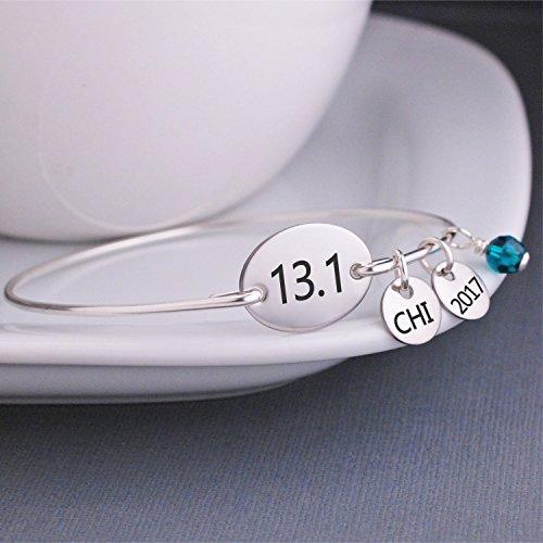 13.1 Half Marathon Bracelet - Silver, Gold or Rose Gold - Custom Charm Option (Gold Charm 14k Runner)
