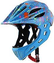 Full Face Kids Bike Helmet, Girls Boys Child Toddler Sport Helmets Safty Protection Detachable, for BMX Cyclin