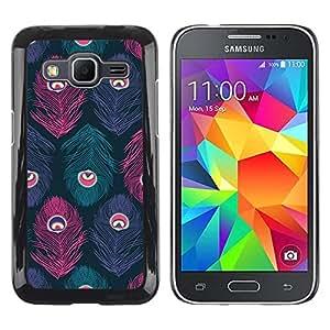 FECELL CITY // Duro Aluminio Pegatina PC Caso decorativo Funda Carcasa de Protección para Samsung Galaxy Core Prime SM-G360 // Feather Eye Teal Pastel Colors