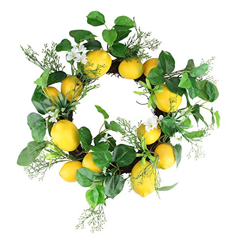 - Northlight Lemon and Flower Artificial Spring Wreath, Yellow and White 20-inch
