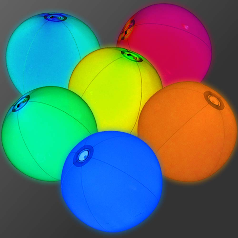 12'' Glowing Beach Balls (Set of 12) - Glow Beach Ball with Assorted Color Glow Insert
