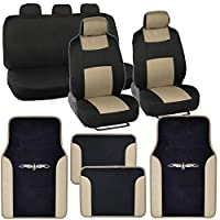 PolyCloth Car Seat Covers Black & Beige Tan Two-Tone Classic & Vinyl Trim PU Leather/Carpet Floor Mats for Auto