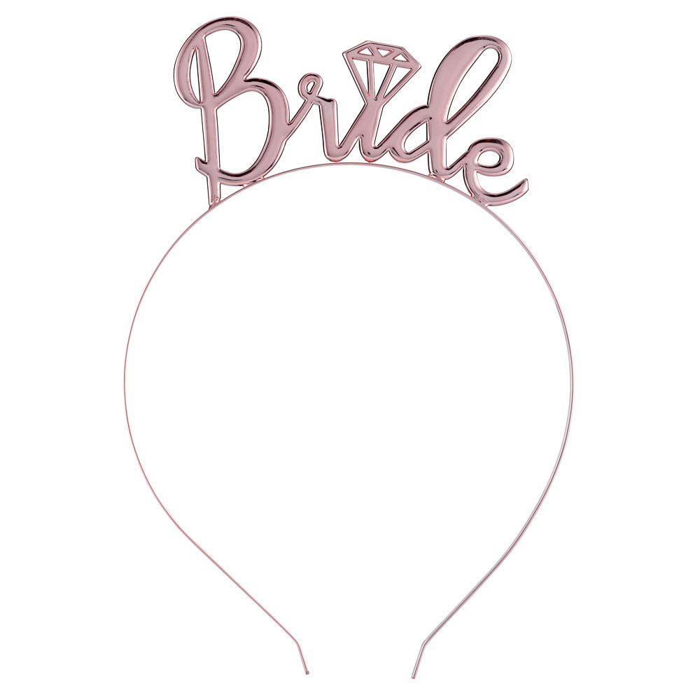 Bride to Be Sash and Veil Badge Weforu 6Pcs Rose Gold Hen Party Set Tattoos Hen Do Accessories for Bridal Shower Wedding Bachelorette Party Bride Headband Tiara Banner
