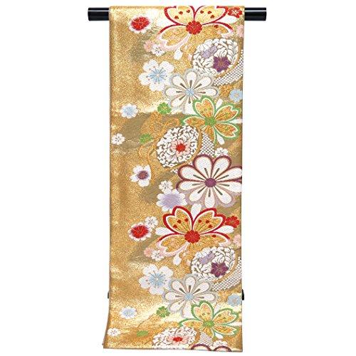 区困難袋帯 仕立て上がり 振袖に 西陣織の袋帯 六通「金 菊と桜」NFO679