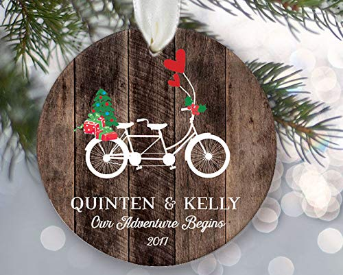 nalized Christmas Ornament Couples A Gift F Engaged Couple Newly Married Couple Rustic Wood Tandem Bike ()