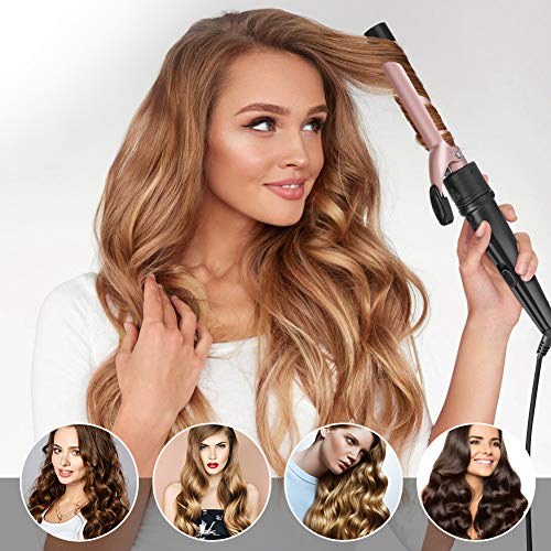 6-IN-1 Curling Iron, Professional Curling Wand Set, Instant Heat Up Hair Curler with 6 Interchangeable Ceramic Barrels (0.35'' to 1.25'') and 2 Temperature Adjustments, Heat Protective Glove & 2 Clips