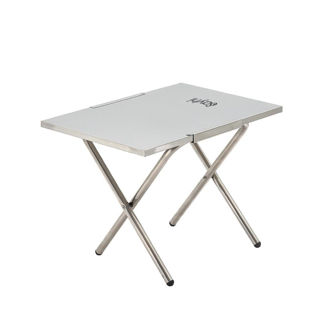 Portable Stainless Steel Foldable Desk, Blueseao Multi Function Indoor Outdoor Picnic Party Dining Camp Folding Table 20 by 14 Inches