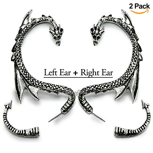 Dragon Costumes For Women (BlingSoul Whispering Dragon Ear Cuff for Women - Silver Winged Game of Thrones Earring Cuffs Jewelry)