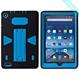 "LIKESEA Fire 7"" (2017 release) Case,Three Layer Ultra Hybrid Shock Absorption Case High Impact Resistant Full-Body Protective Case With Kickstand for Amazon Fire 7 (2017) - Black Blue"