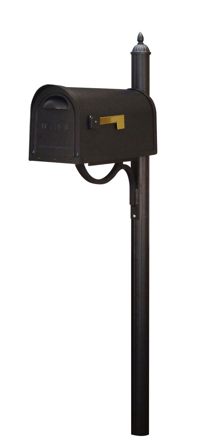 Special Lite Classic Curbside Mailbox with Richland Mailbox Post - Black
