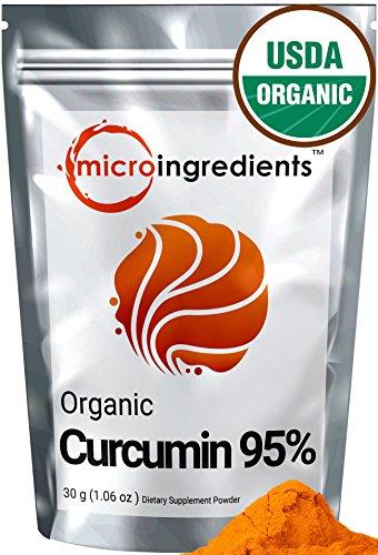 Micro Ingredients USDA Organic Curcumin 95% (Turmeric Curcumin Extract) Powder - Powerful Anti-Inflammatory Antioxidant (30 gram / 1.06 oz) Natural Curcumin Supplements