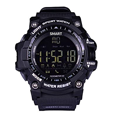 ROADTEC Digital Smart Watch, IP67 Waterproof 5ATM Bluetooth 4.0 Sport Smartwatch with Call SMS Notification Pedometer Remote Camera for IOS Android