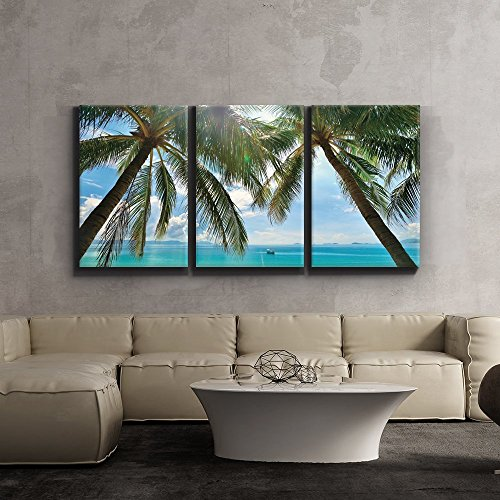 3 Piece Canvas Print - Contemporary Art, Modern Wall Decor - Tropical beach palm trees paradise - Giclee Artwork - Gallery Wrapped Wood Stretcher Bars - Ready to Hang- Wall26 - 24