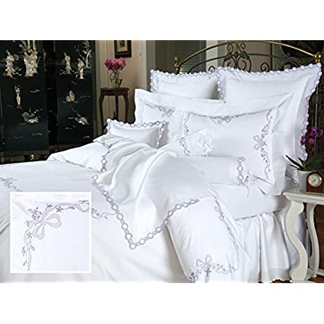 Fiocco Luxury Bedding Sheet Sets Queen 100 Egyptian Cotton Sateen 1 Flat 1 Fitted 2 Std Shams Lavender