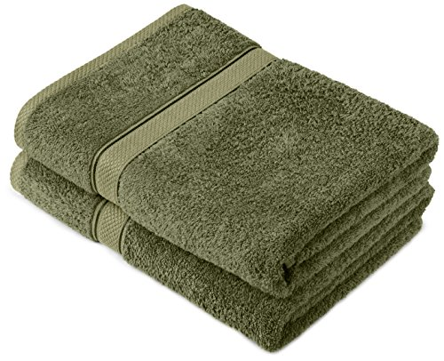 Pinzon by Amazon Lot de 2 draps de bain en coton Vert mousse