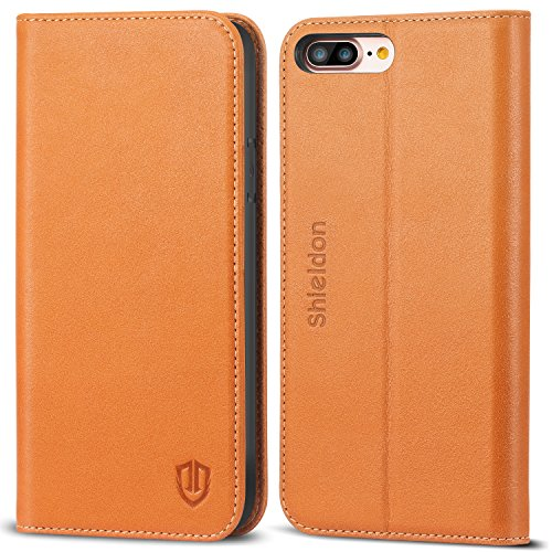 iPhone 8 Plus Case, iPhone 7 Plus Case, SHIELDON Genuine Leather iPhone 8 Plus Wallet Case Book Design with Flip Cover and Stand [Credit Card Slot] Magnetic Closure for iPhone 8 Plus/7 Plus - Brown Leather Wallet Carrying Case