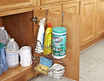 Kitchen Details 2 Tier Over The Kitchen Cabinet Door Hanging Organizer  Basket, Holds Bottles, Sponges, Cleaning Products, Chrome Silver