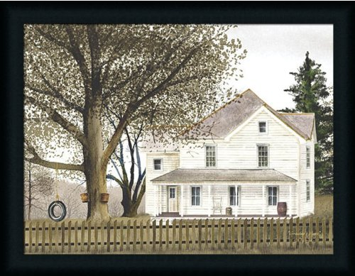Grandma's House by Billy Jacobs Old Country Farm House 27x21 in Framed Art Print (Folk Art Farm)