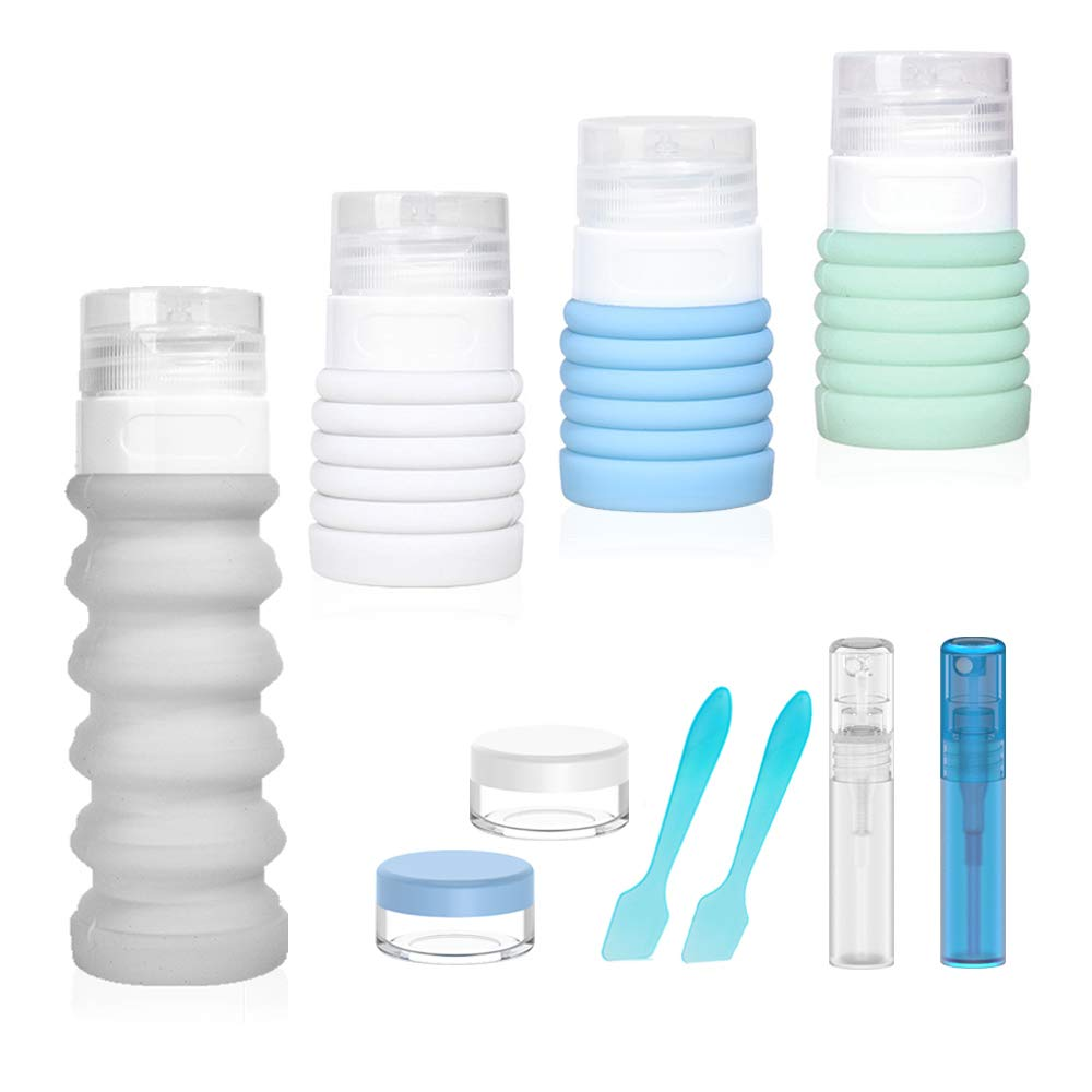 Collapsible Silicone Travel Size Bottles Portable Refillable Containers Set for Cosmetic Toiletries Shampoo Lotion Soap Cream, TSA Approved