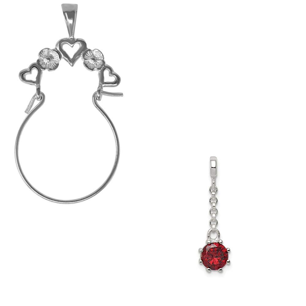 Mireval Sterling Silver Dark Red CZ 1 and 2 in Dangle Enhancer on an Optional Charm Holder