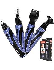 Neushaartrimmer, 4-in-1 Oplaadbare Neushaartrimmer, elektrische baardtrimmer, oren tondeuse trimmer, wenkbrauwtrimmer,Voor Mannen Waterdichte verzorgingsset (Blue)